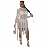White Long Sleeve Mesh Bangdage Sexy Dress