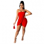 Red Off-Shoulder Sleeveless Women Sexy Dress