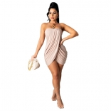 Pink Off-Shoulder Sleeveless Women Sexy Dress