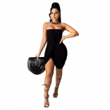 Black Off-Shoulder Sleeveless Women Sexy Dress