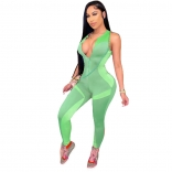 Green Sleeveless Halter Zipper V-Neck Bodycons Sexy Jumpsuit