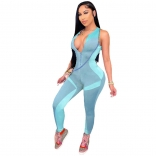 Blue Sleeveless Halter Zipper V-Neck Bodycons Sexy Jumpsuit