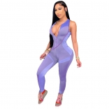 Purple Sleeveless Halter Zipper V-Neck Bodycons Sexy Jumpsuit