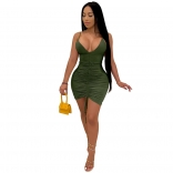 Green Halter Deep V-Neck Bodycons Sexy Mini Dress