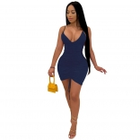 RoyalBlue Halter Deep V-Neck Bodycons Sexy Mini Dress