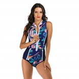 Blue Long Sleeve Printed Surfing Swimwear