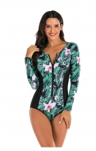 Green Long Sleeve Printed Surfing Swimwear