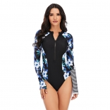 Black Printed Fashion Sexy Surfing Swimming One-Pieces