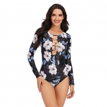 White Printed Fashion Sexy Surfing Swimming One-Pieces