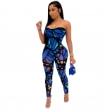 Blue Sleeveless Off-Shoulder Printed Sexy Jumpsuit