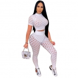 White Short Sleeve Hollow-out Sexy Bandage Jumpsuit