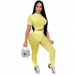 Yellow Short Sleeve Hollow-out Sexy Bandage Jumpsuit