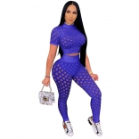 Blue Short Sleeve Hollow-out Sexy Bandage Jumpsuit