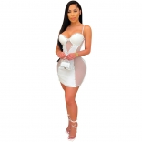 White Sleeveless Halter V-Neck Mesh Pearl Bodycon Dress