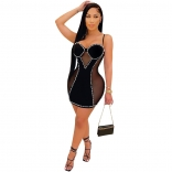 Black Sleeveless Halter V-Neck Mesh Pearl Bodycon Dress