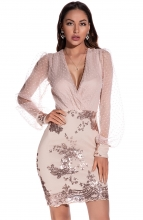 Beige Long Sleeve Low-Cut Sequins Bodycons Mini Dress