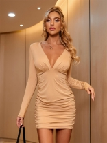Khaki Long Sleeve V-Neck Women Sexy Mini Dress