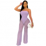 Purple Off-Shoulder Mesh Women Sexy Jumpsuit