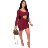 WineRed One-Sleeve Mesh Low-Cut Sexy Women Mini Dress