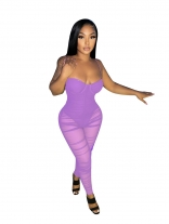 Purple Off-Shoulder Low-Cut V-Neck Mesh Sexy Women Jumpsuit