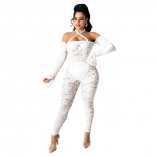 White Long Sleeve Off-Shoulder Lace Hollow-out Sexy Jumpsuit