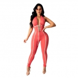 Pink Sleeveless Deep V-Neck Lace-up Sexy Jumpsuit
