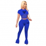 Blue Short Sleeve Mesh Tops Women Jumpsuit Sports Dress