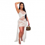 White Sleeveless Mesh Bandage Women Sexy Bodycons Mini Dress