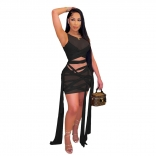 Black Sleeveless Mesh Bandage Women Sexy Bodycons Mini Dress