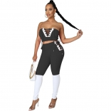Black V-Neck Off-Shoulder 2PCS Bandage Sexy Jumpsuit