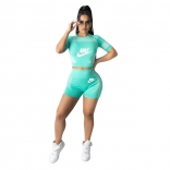 Blue Short Sleeve Printed O-Neck Women Sports Sets