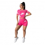 RoseRed Short Sleeve Printed O-Neck Women Sports Sets