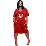 Red Short Sleeve V-Neck Printed Women Clubwear