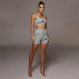 Grey Halter Women Sexy Tank Top Printed Pant Sets