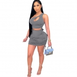 Grey Sleeveless Halter Pleating 2PCS Women Sexy Bodycon Dres