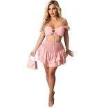 Pink Off-Shoulder V-Neck 2PCS Women Skirt Dress