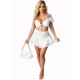 White Off-Shoulder V-Neck 2PCS Women Skirt Dress