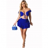 Blue Off-Shoulder V-Neck 2PCS Women Skirt Dress