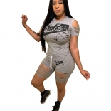 Grey Short Sleeve Hollow-out Printed 2PCS Pant Sets