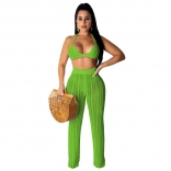 Green Halter Bras Knitting Hollow-out Sexy Women Jumpsuit