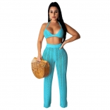 LightBlue Halter Bras Knitting Hollow-out Sexy Women Jumpsuit