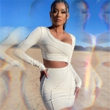 White Long Sleeve Bandage Women 2PCS Bodycons Dress