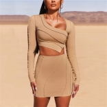 Khaki Long Sleeve Bandage Women 2PCS Bodycons Dress