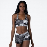 White Sleeveless Low-Cut Printed Women Short Sets