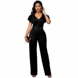 Black Foral Sleeveless V-Neck Bodycons Women Sexy Jumpsuit