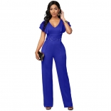 Blue Foral Sleeveless V-Neck Bodycons Women Sexy Jumpsuit