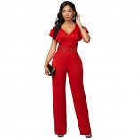 Red Foral Sleeveless V-Neck Bodycons Women Sexy Jumpsuit