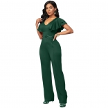 Green Foral Sleeveless V-Neck Bodycons Women Sexy Jumpsuit
