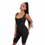 Black Sleeveless Low-Cut Bodycons Sexy Romper