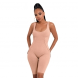 Pink Sleeveless Low-Cut Bodycons Sexy Romper